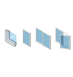 Isometric cross section through a window pane pvc vector