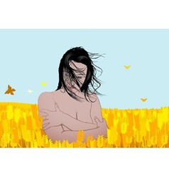 Nude Girl in a Field vector image