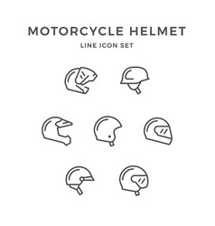 set line icons of motorcycle helmet vector image