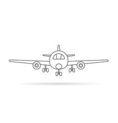 thin line airplane icon with shadow vector image vector image