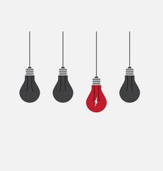 Abstract flat design lightbulbs eureka concept vector