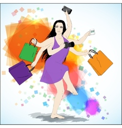 Happy shopping vector image vector image