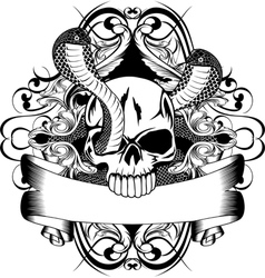 Skull and two snake vector