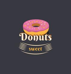 vintage logo donut vector image vector image