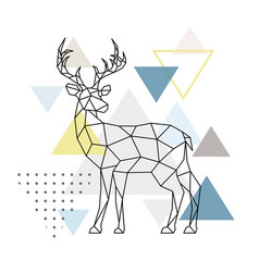 abstract geometric deer side view scandinavian vector image