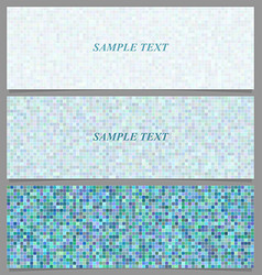 Abstract square mosaic pattern banner set vector