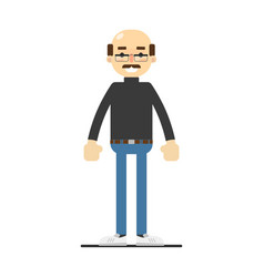 Adult bald man with mustache in shirt and jeans vector