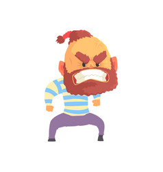 angry aggressive bearded man cartoon vector image
