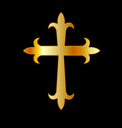 Antique christian cross golden vector