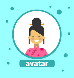 asian woman avatar icon chinese female in vector image