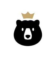 bear king crown logo icon vector image