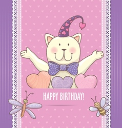 Birthday card with cat vector image
