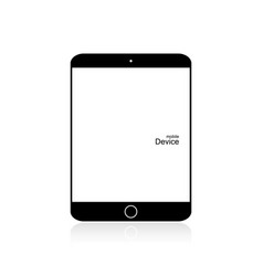 Black tablet on white background blank screen vector