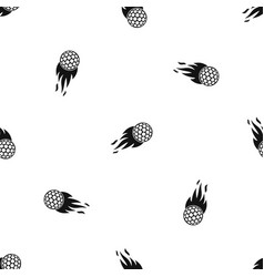 Burning golf ball pattern seamless black vector