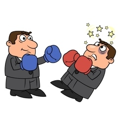 Businessman is punching competitor vector