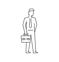businessman with briefcase outline vector image