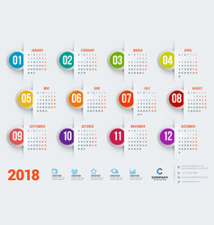 calendar for 2018 year design stationery template vector image