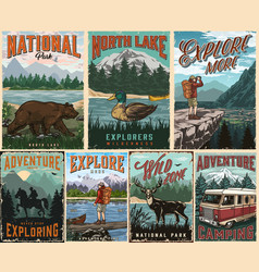 Camping and summer adventure posters vector