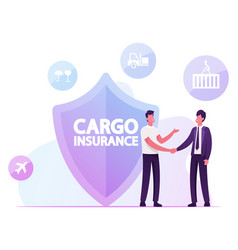Cargo insurance concept businessmen shaking hands vector