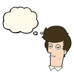 Cartoon bored man with thought bubble vector