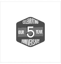 Celebrating 5 year anniversary badge sign vector