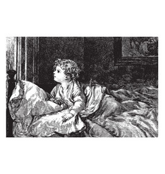 Child in bed in this picture vintage engraving vector