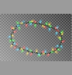 christmas lights oval border light string vector image