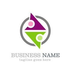 circle partner abstract business logo vector image