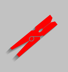 clothes peg sign red icon with soft vector image