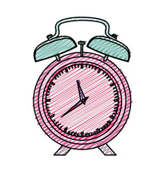 Color pencil graphic pink alarm clock vector