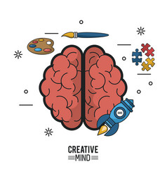colorful poster of creative mind with brain top vector image