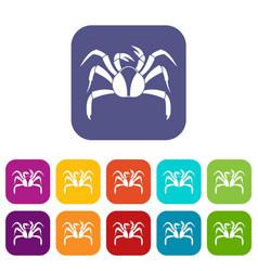Crab sea animal icons set flat vector