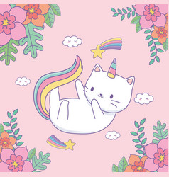 cute caticorn with floral decoration and rainbow vector image