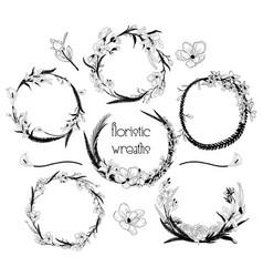 delicate floristic wreaths flower frame design vector image