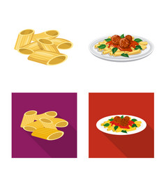 Design pasta and carbohydrate logo set vector