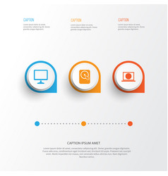 device icons set collection of desktop hdd web vector image