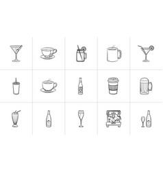 drink hand drawn sketch icon set vector image