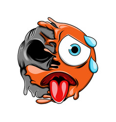 emoticon tired expression with sweat vector image