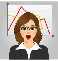 Emotional crying businesswoman in economic crisis vector