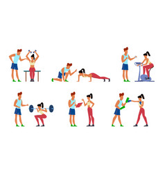 Fitness trainer gymnastics exercising in gym with vector
