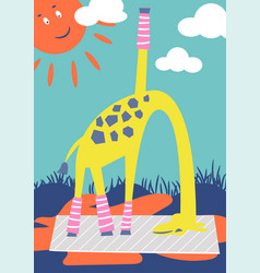 funny giraffe doing outdoor yoga in a park kid vector image