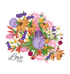 Garden flowers bouquet with love you text vector