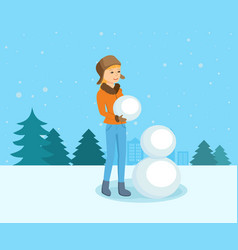 Girl in winter clothes in park sculpts snowman vector