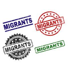 Grunge textured migrants seal stamps vector