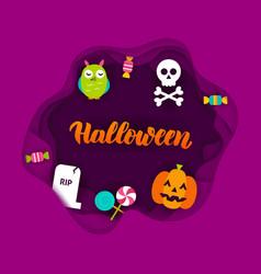 Halloween paper cut concept vector