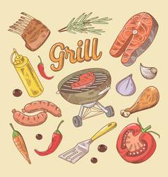 Hand drawn grill barbecue doodle with steak vector
