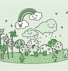 Hand drawn small green planet Doodle style vector image