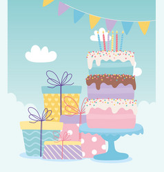 Happy birthday cake with candles and gift boxes vector
