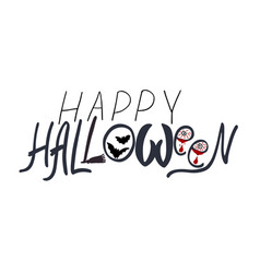 happy halloween text banner card background vector image