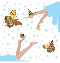 Health lightness and butterflies vector